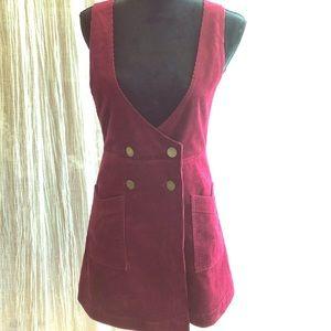 Free People Red Corduroy Jumper Mini Dress
